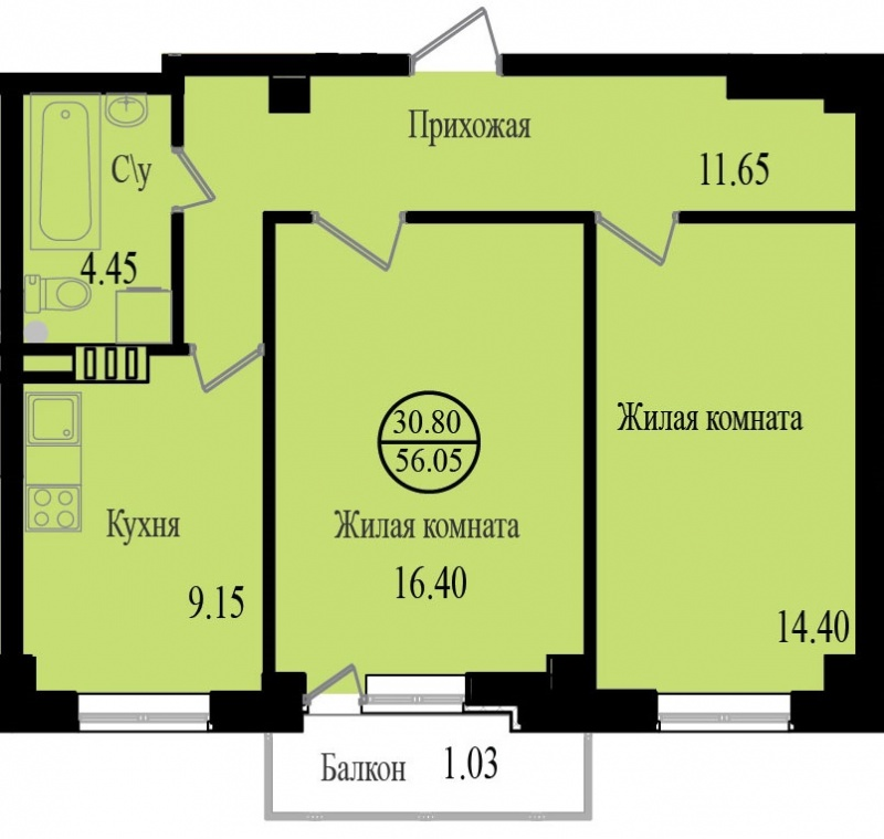 Планировка Двухкомнатная квартира площадью 58.3 кв.м в ЖК «Южная поляна»